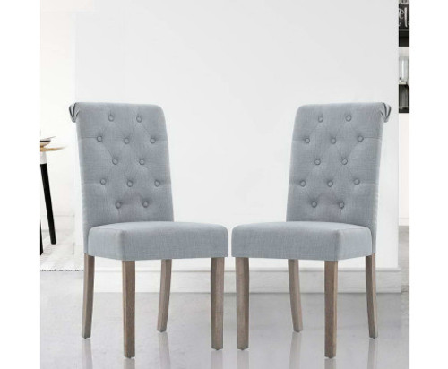 ARLETTE (SET OF 2) FABRIC HIGH BACK DINING CHAIR - GREY