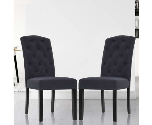 ARLETTE (SET OF 2) FABRIC HIGH BACK DINING CHAIR - DARK  GREY