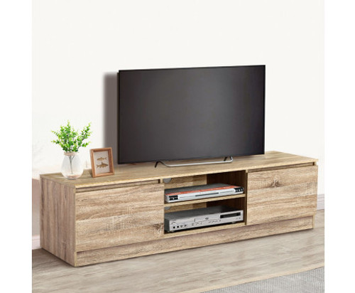 CALLUM WOODEN TV ENTERTAINMENT UNIT WITH 2 DOORS - NATURAL