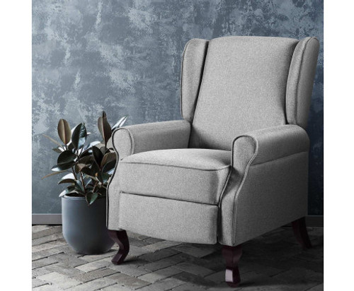 COLLINS FABRIC RECLINER ARM CHAIR - GREY
