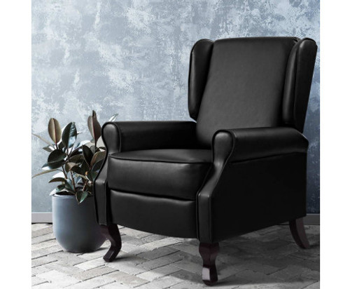 COLLINS PU LEATHER RECLINER ARM CHAIR - BLACK