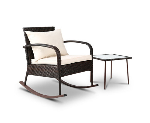 CLARENCE INDOOR/ OUTDOOR ROCKING CHAIR WITH TABLE - BROWN