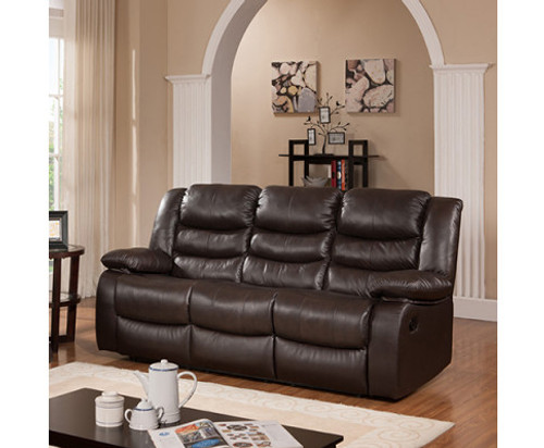 HANNY 3 SEATER BONDED LEATHER  RECLINER  - BROWN