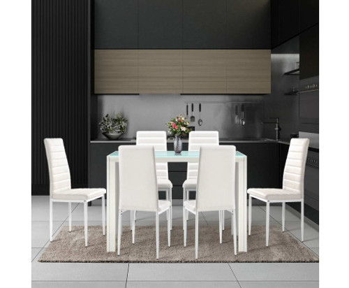 DENVER 7 PIECE DINING SETTING WITH 1200(L) x 600(W) DINING TABLE - WHITE