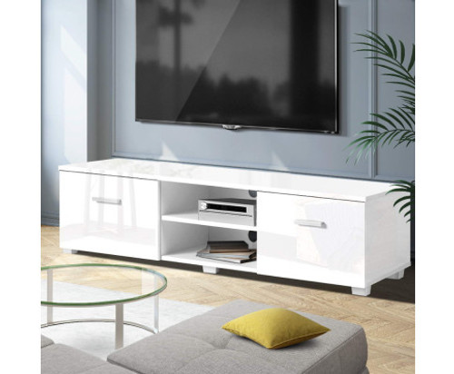 BRISBANE TV CABINET ENTERTAINMENT UNIT WITH RGB LED 1400(W) - HIGH GLOSS WHITE