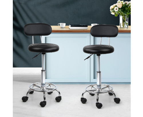 AYANA (SET OF 2) PU LEATHER  SWIVEL CHAIR  WITH BACKREST - BLACK
