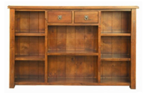 ALANZO LOWLINE  - 1255(H) x 1800(W) BOOKCASE WITH 2 DRAWERS - RUSTIC
