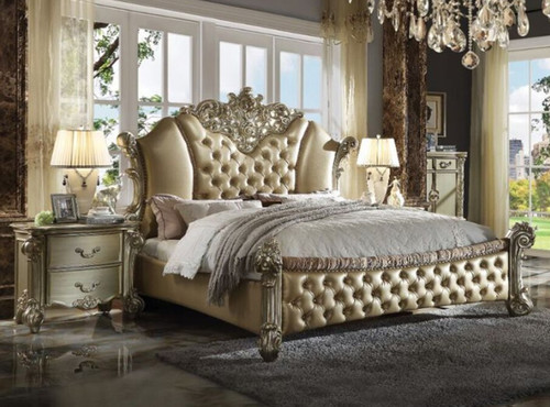 VENDOME II QUEEN 4 PIECE (TALLBOY) BEDROOM SUITE WITH FULLY PADDED BED - GOLD PATINA & BONE