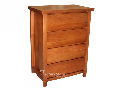 FEDERATION (AUSSIE MADE) 4 DRAWER NARROWBOY WITH FINGERPULL DRAWERS - 1010(H) X 710(W) - ASSORTED COLOURS