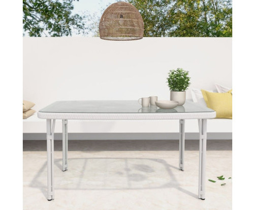 CARLEY OUTDOOR DINING TABLE - WHITE