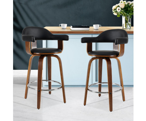 CONNELLY (SET OF 2) PU LEATHER SWIVEL BAR STOOLS - BLACK