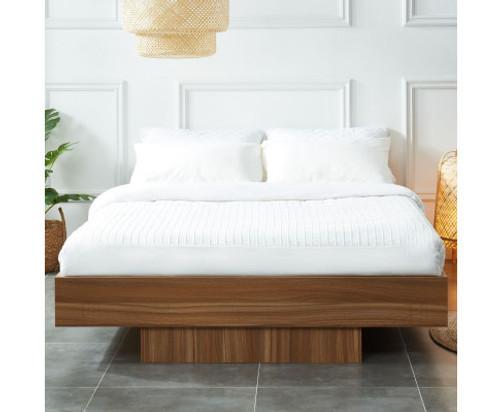 QUEEN VIVICA FLOATING BED BASE FRAME - WALNUT OAK