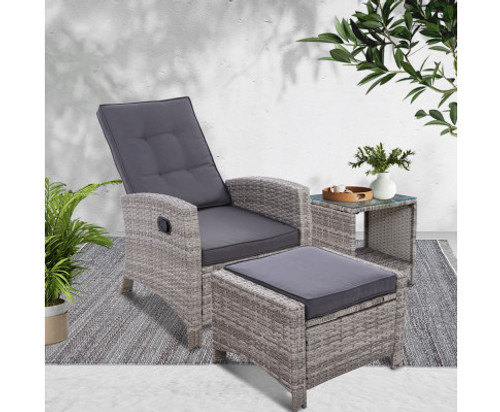 VALTINA OUTDOOR RECLINER CHAIR WITH OTTOMAN AND TABLE LOUNGE SET- GREY