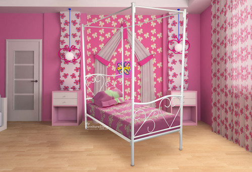 KING SINGLE VALENTINE 4 POSTER BED - ASSORTED COLOURS