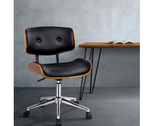 AILLANA BENTWOOD EXECUTIVE OFFICE CHAIR - BLACK & WOOD