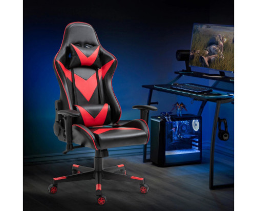 AGNELLE RECLINING OFFICE COMPUTER GAMING CHAIR - BLACK & RED
