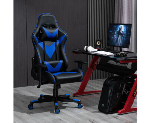 AGNELLE RECLINING OFFICE COMPUTER GAMING CHAIR - BLACK & BLUE