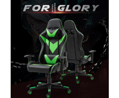 AGNELLE RECLINING OFFICE COMPUTER GAMING CHAIR - BLACK & GREEN