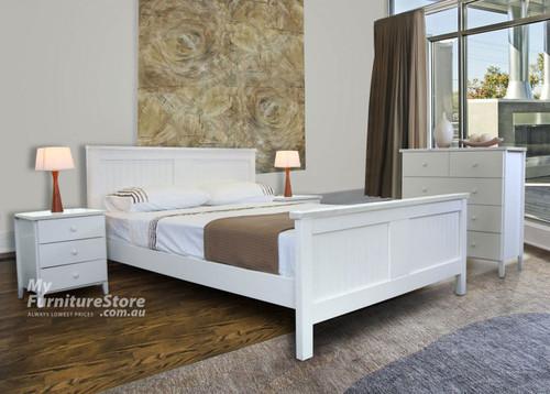 PALACIO DOUBLE OR QUEEN 4 PIECE TALLBOY BEDROOM SUITE - WHITE OR BLACK (MODEL 8-1-23-1-9-9) (DB-HAW/QB-HAW)