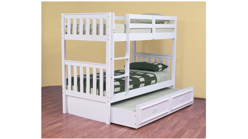 SINGLE LINDFIELD (MODEL 10-5-19-20-5-18) BUNK BED WITH MATCHING 3 DRAWER UNDERBED STORAGE DRAWER - (NOT PICTURED BELOW) - ARCTIC WHITE
