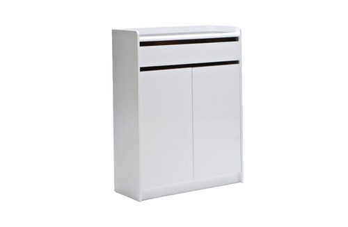 A15 SHOE CABINET WITH 2 DOOR / 1 DRAWER - 1000(H) X 800(W) - HIGH GLOSS TWO TONED BLACK AND WHITE