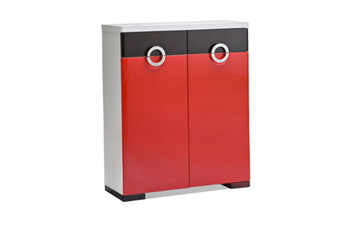 C10 SHOE CABINET WITH 2 DOORS/2 DRAWERS - 880(W) - RED & BLACK