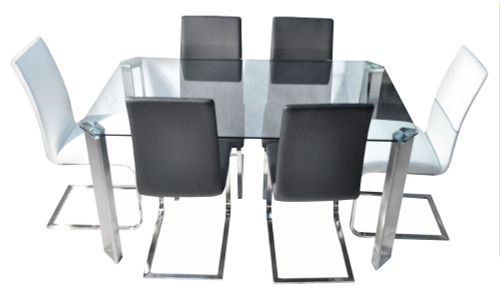 ANGELA 7 PIECE DINING SETTING WITH BALE CHAIRS - 1500(L) X  900(W) - BLACK OR WHITE