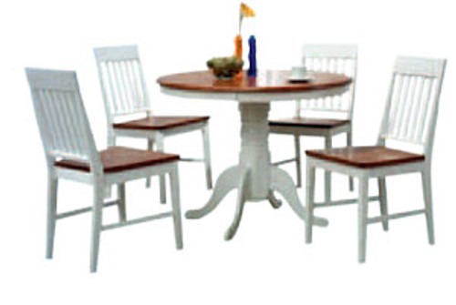 BRENNA 5 PIECE ROUND FIXED DINING SETTING - 1000(DIA) - TWO TONE