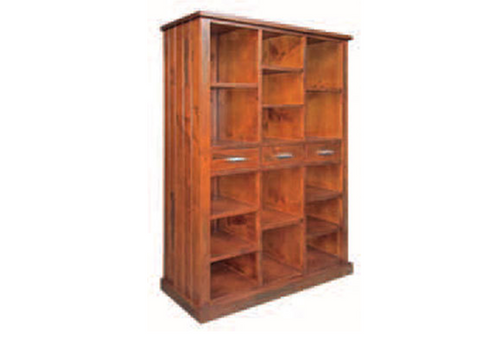 NEW YORK MULTIPURPOSE BOOKSHELF - 1900(H) x 1200(W) - AGED BLACKWOOD
