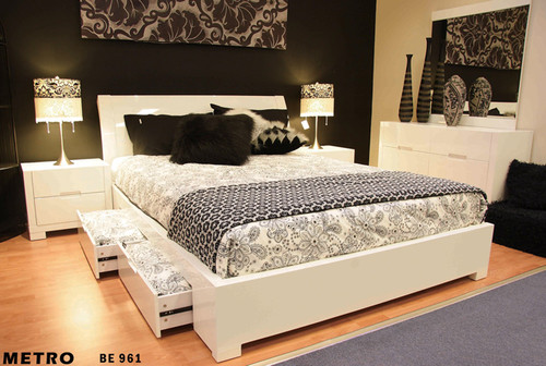 DOUBLE METRO (BE-961) BED WITH 4 DRAWER UNDERBED STORAGE - GLOSS WHITE