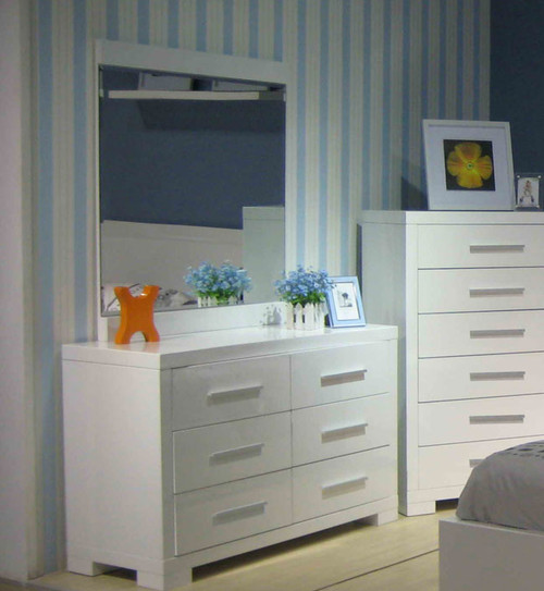 PRIMA DRESSING TABLE WITH MIRROR (BE-963) - 1760(H) X 1200(W) - HIGH GLOSS WHITE OR BLACK