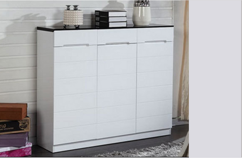 GX947 3 DOOR SHOE CABINET - 1200(W) - BLACK AND WHITE HIGH GLOSS