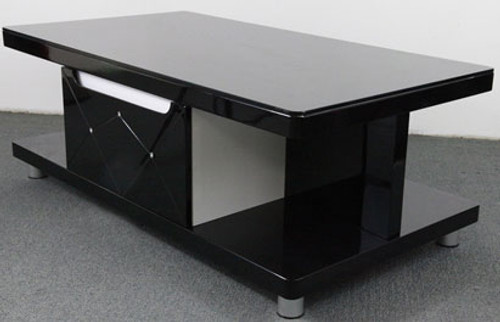 CJ8038B COFFEE TABLE -  1100(W) X 600(D) - GLOSS BLACK AND DIAMOND