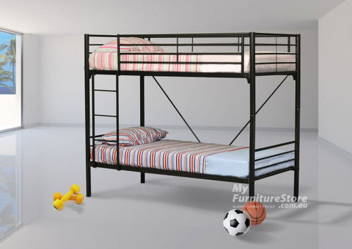KING SINGLE COMMERCIAL BUNK BED - BLACK