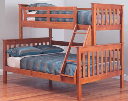 AWESOME (MODEL 6-15-18-20-5) SINGLE OVER DOUBLE (TRIO) BUNK BED - TEAK