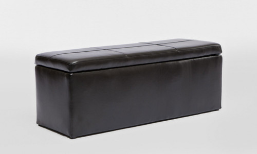 LEATHERETTE STORAGE OTTOMAN WITH 3 FOOTSTOOLS - 440(H) x 1170(W) - SHINY BLACK