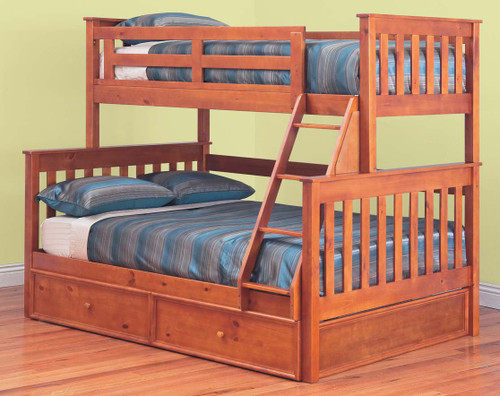AWESOME (MODEL 6-15-18-20-5) TRIO BUNK BED WITH DOUBLE / SINGLE MATCHING STORAGE TRUNDLE - TEAK