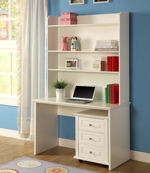 VERONA (BE-563) DESK & HUTCH INCLUDING MOBILE DRAWERS - 1200(W) X 600(D) -  IVORY WHITE