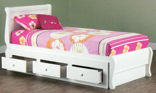 KING SINGLE COPENHAGEN BED WITH 3 DRAWER STORAGE INCLUDING SPACERS* - ARCTIC WHITE