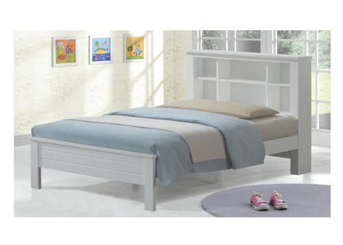SINGLE EDMONTON BOOKEND BED (WS-083) - WHITE