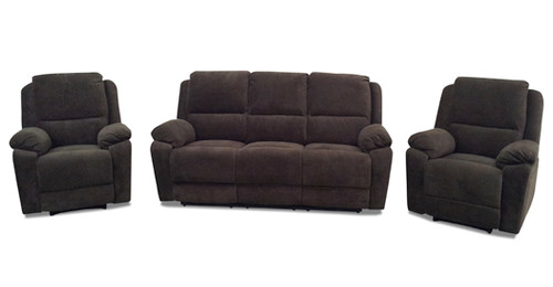 RIALTO 2RR + R + R RECLINER SUITE - VELVET SUEDE OR VELVETEEN (NOT AS PICTURED)