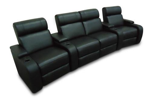 VEGAS 4 SEAT HOME THEATRE SUITE - FULL LEATHER - DARK CHOCOLATE OR BLACK (PICTURED)