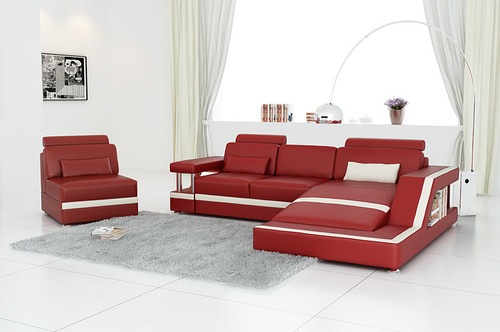 ZVEST - III (G1074C) LEATHER/ETTE COMBINATION CHAISE LOUNGE - ASSORTED COLOURS