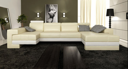 CRESCENT (G1050) 2 SEATER LEATHER/ETTE COMBINATION LOUNGE WITH LEFT AND RIGHT CHAISE - ASSORTED COLOURS