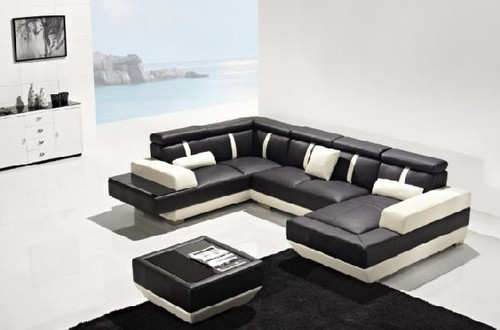 GIOVANNA (G1086) 3 SEATER + 2 SEATER + CHAISE + COFFEE TABLE - LEATHER/ETTE COMBINATION CHAISE SUITE - ASSORTED COLOURS