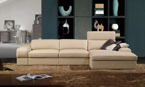 ALVISE (F2015B) 3 SEATER LEATHER/ETTE COMBINATION CHAISE LOUNGE - ASSORTED COLOURS