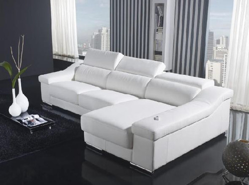CADENZA (F2045) 3 SEATER LEATHER/ETTE COMBINATION CHAISE LOUNGE - ASSORTED COLOURS