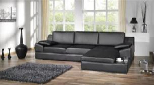 CALLEN (F2067) 3 SEATER LEATHER/ETTE COMBINATION CHAISE LOUNGE - ASSORTED COLOURS