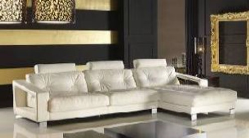 DAWSON (F2069) 3 SEATER LEATHER/ETTE COMBINATION CHAISE LOUNGE - ASSORTED COLOURS