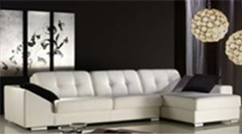 ERINA (F2078) 3 SEATER LEATHER/ETTE COMBINATION CHAISE LOUNGE - ASSORTED COLOURS